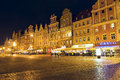 South frontage of the old market square at night wroclaw october townhouses on one largest european markets built on a rectangle Royalty Free Stock Photos
