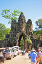 South gate of angkor thom siem reap cambodia august unidentified tourists visit on august in siem reap cambodia Royalty Free Stock Image