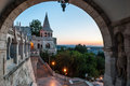 South gate of fisherman s bastion in budapest at sunrise Royalty Free Stock Photography