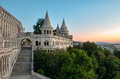 South gate of fisherman s bastion in budapest at sunrise Stock Images
