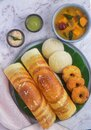 South Indian breakfast -Idli Dosa vada chutney Royalty Free Stock Photo