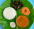 South indian meal consisting of rice lentil curry powder and okra Royalty Free Stock Image