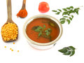 South indian soup rasam is usually eaten by mixing it with hot rice and is prepared from tamarind paste pigeo peas chili powder Royalty Free Stock Photography