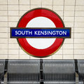 South Kensington tube station sign - London Underground roundel Royalty Free Stock Photo