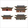 South Korea country design flat cartoon elements. Travel landmark, Seoul tourism place. World vacation travel city Royalty Free Stock Photo