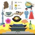 South Korea culture symbol set. Travel Seoul direction concept.