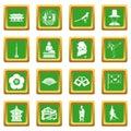 South Korea icons set green