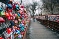 SOUTH KOREA-26 JANUARY 2017: Thousands of colorful love padlocks along the wooden walk path during winter Royalty Free Stock Photo