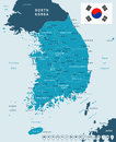 South Korea - map and flag - illustration