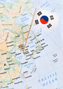 South Korea map and flag pin world hot spot concept Royalty Free Stock Photo