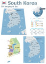 South korea maps with markers set of the political and symbols for infographic Royalty Free Stock Photography
