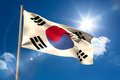 South korea national flag on flagpole blue sky background Royalty Free Stock Photography