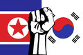 South korea and north korea fist protest Royalty Free Stock Images