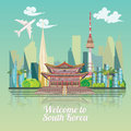 South Korea travel poster with korean city. Korea Journey banner with korean objects