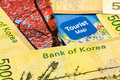 South korea won bank note and map Stock Images