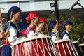 South korean drum festival five women perform at the in seoul Stock Images