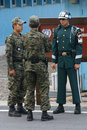 South korean soldiers on the border at panmunjom between north and korea joint security area Stock Photo