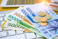 South Korean won currency and finance business. Business concept