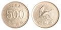 500 south korean wons coin Royalty Free Stock Photo