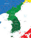 South and north korea map highly detailed vector of korean peninsula with administrative regions main cities roads Stock Photography