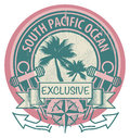 South pacific ocean stamp grunge rubber with the words written inside the Stock Images