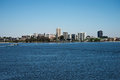 South Perth view from Elizabeth Quay Bridge with ferry crossing Swan River towards Mend Street jetty Royalty Free Stock Photo