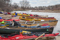 South platte river evans colorado april kayaks and canoes on a river shore during annual all club paddle on april it is a popular Stock Image