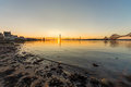 South queensferry and the bridges in scotland at sunset Stock Image