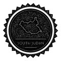South Sudan Map Label with Retro Vintage Styled.