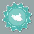 South Sudan map sticker in trendy colors.