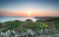 The south west coast path at park head sunset from near porthcothan on north cornwall Royalty Free Stock Photos