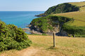 South west coast path from pentewan towards mevagissey cornwall england on a beautiful summer day Royalty Free Stock Photo