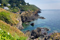 South west coast path view near polperro from fishing village cornwall england Royalty Free Stock Image