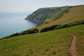 South west west coast path from lantic bay to fowey cornwall england on a beautiful summer day Royalty Free Stock Images