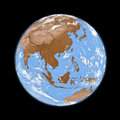 Southeast asia on earth planet isolated black background elements of this image furnished by nasa Stock Images