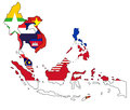 Southeast asia map of with the counties filled in with the national flag Stock Image