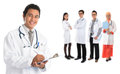Southeast asian doctors group of standing isolated on white background Stock Photography