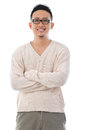 Southeast asian man portrait standing isolated over white background Stock Photos
