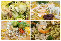 Southeast asian singapore noodles dishes collage hawker food stall closeup Stock Photo