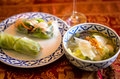 Southeast Asian Style Summer Roll and glas noodle soup Royalty Free Stock Photo
