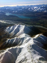 Southern alps arial view of the in winter on the approach to christchurch in new zealand Royalty Free Stock Photography