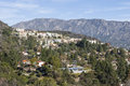 Southern california hillside homes upscale los angeles county with san gabriel mountains backdrop Stock Image