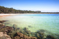 The southern end of green patch beach australia from rocks at is approximately km in length with emerald waters and Royalty Free Stock Image
