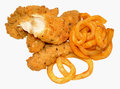 Southern fried chicken and curly fries style isolated on a white background Stock Photos