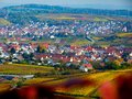 Southern german landscape in fantastic autumn colors and a farming village
