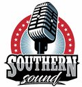 Southern rock vector logo, vintage microphone vector, old radio. Royalty Free Stock Photo