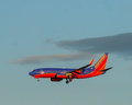 Southwest airlines a plane approaches the runway Royalty Free Stock Photo