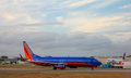 Southwest jet on tarmac waiting to depart from green airport in warwick rhode island Royalty Free Stock Images