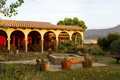 Southwestern hacienda at sunrise or courtyard in american southwest Royalty Free Stock Photos