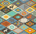 Southwestern seamless pattern with deers, buffalo and triangles Royalty Free Stock Photo